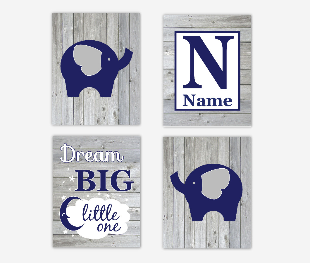 Baby Boy Nursery Wall Art Elephants Navy Blue Rustic Dream Big Personalized Name Baby Nursery Decor SET OF 4 UNFRAMED PRINTS
