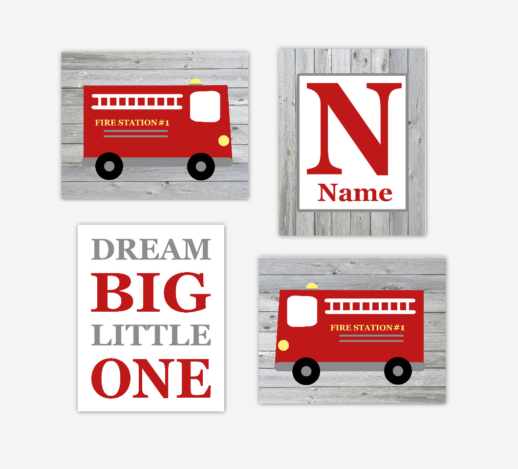 Fire Truck Baby Boy Nursery Art Personalized Name Print Dream Big Little One Baby Nursery Decor SET OF 4 UNFRAMED PRINTS