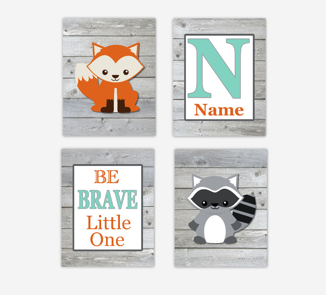 Woodland Animals Baby Boy Nursery Art Fox Raccoon Personalized Prints Be Brave Little One Baby Nursery Decor SET OF 4 UNFRAMED PRINTS