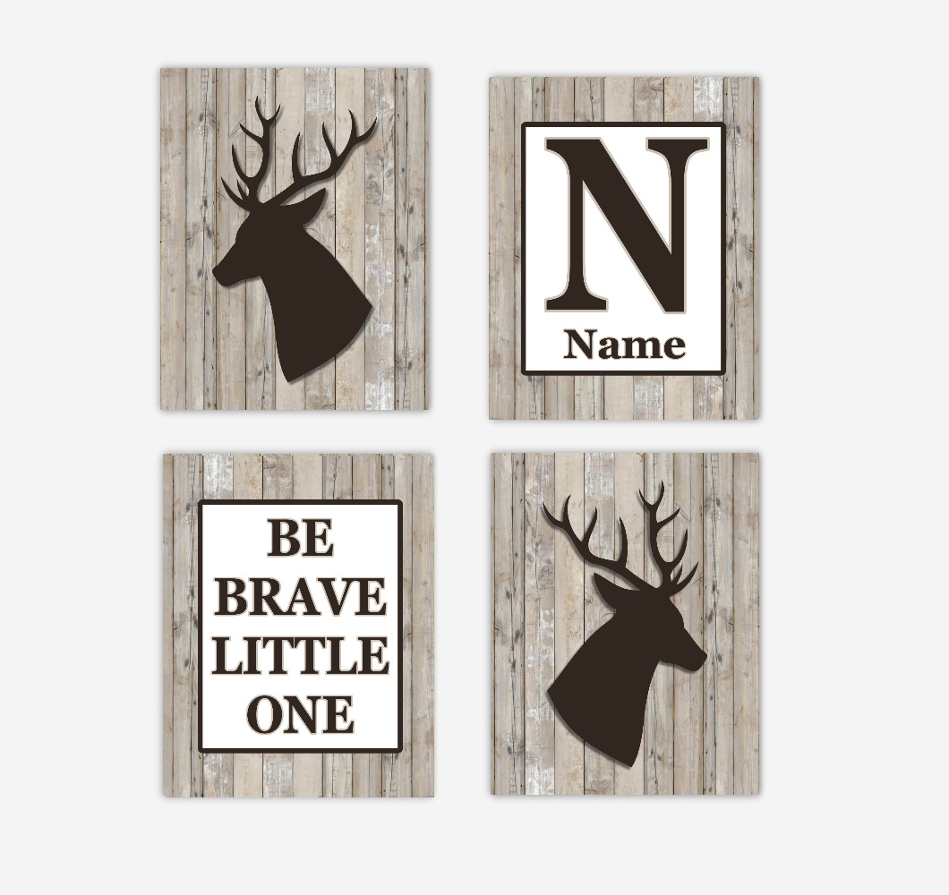 Deer Baby Boy Nursery Wall Art Antlers Brown Rustic Wood Farmhouse Personalized Be Brave Little One Baby Nursery Decor SET OF 4 UNFRAMED PRINTS