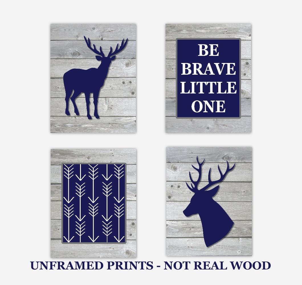 Deer Baby Boy Nursery Wall Art Navy Blue Gray Antlers Woodland Hunting Rustic Wood Arrows Be Brave Little One Baby Nursery Decor  SET OF UNFRAMED PRINTS