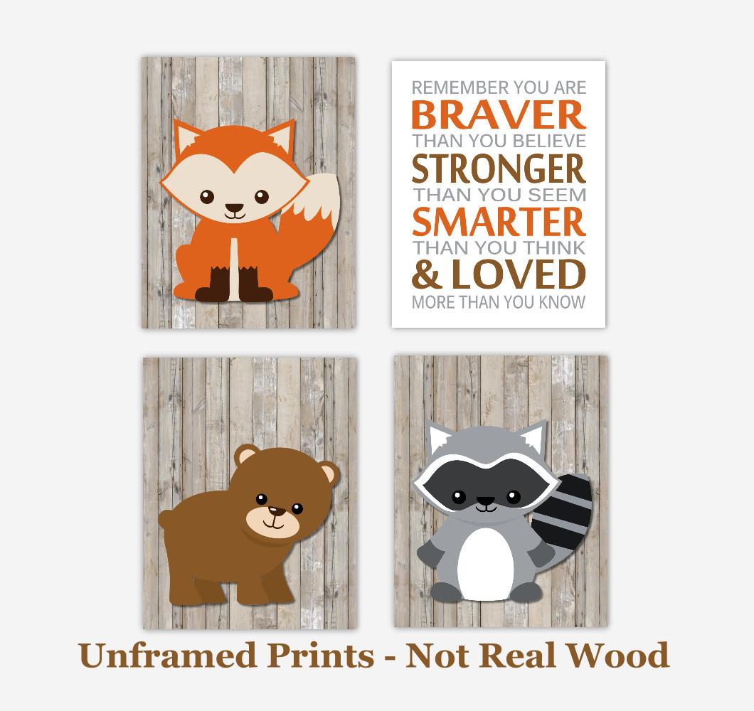 Woodland Baby Boy Nursery Wall Art Fox Raccoon Bear Animals Remember You Are Braver Quote Baby Nursery Decor SET OF 4 UNFRAMED PRINTS