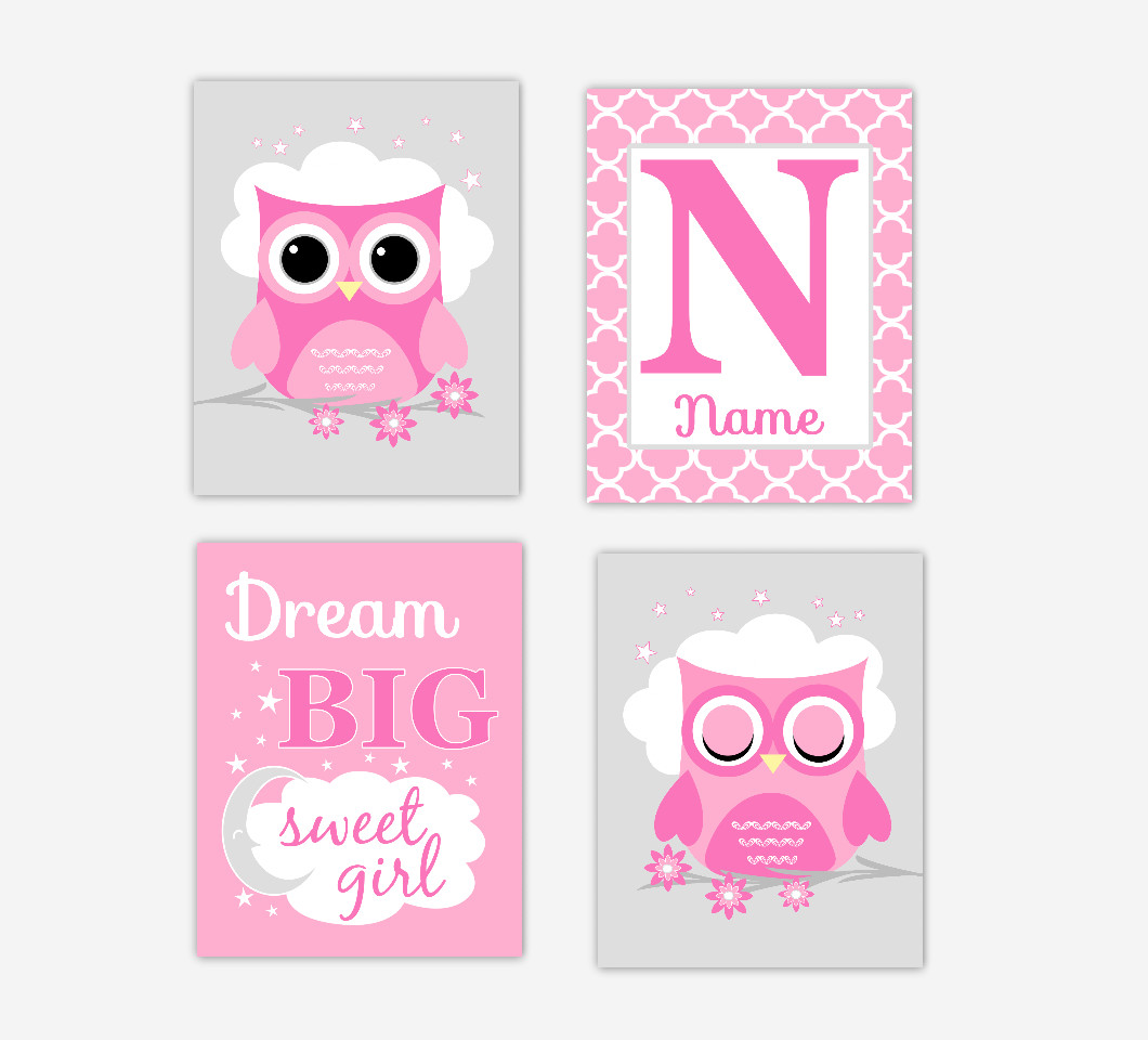 Baby Girl Nursery Wall Art Pink Gray Owls Personalized Name Dream Big Sweet Girl Baby Nursery Decor   SET OF UNFRAMED PRINTS
