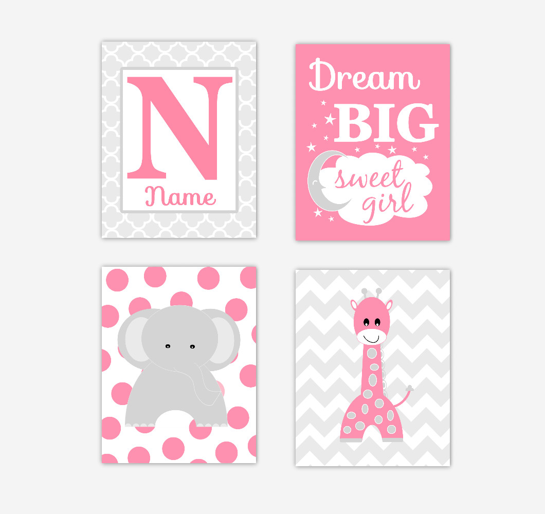 Baby Girl Nursery Wall Art Pink Gray Elephant Giraffe Lion Personalized Name Prints Jungle Safari Zoo Animals Baby Nursery Decor SET OF UNFRAMED PRINTS