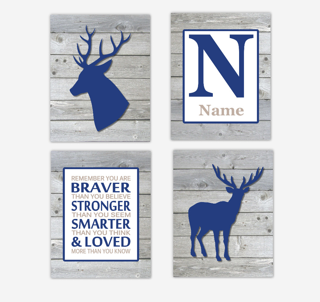 Deer Baby Boy Nursery Wall Art Navy Blue Woodland Antlers Remember You Are Braver Personalized Art  SET OF 4 UNFRAMED PRINTSS