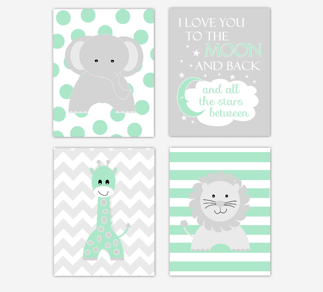 Baby Nursery Wall Art Green Gray Elephant Giraffe Lion I Love You To the Moon and Back Baby Nursery Decor Safari Jungle Zoo Animals  SET OF 4 UNFRAMED PRINTS