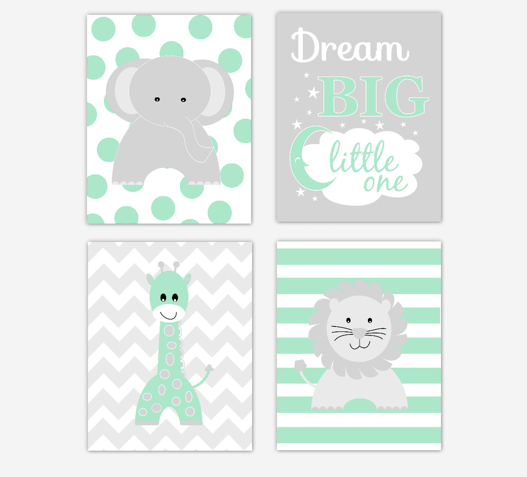 Baby Nursery Wall Art Green Gray Elephant Giraffe Lion Dream Big Little One Baby Nursery Decor Safari Jungle Zoo Animals  SET OF 4 UNFRAMED PRINTS