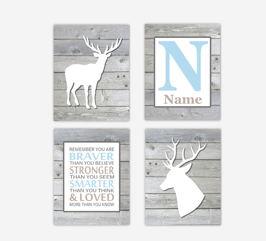 Deer Baby Boy Nursery Art Blue Gray Antlers Personalized Woodland Hunting Remember You Are Braver Baby Nursery Decor SET OF 4 UNFRAMED PRINTS