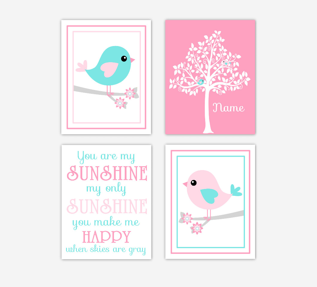 Baby Girl Nursery Art Pink Aqua Teal Birds Personalized Silhouette Tree You Are My Sunshine Print Baby Nursery Decor SET OF 4 UNFRAMED PRINTSE
