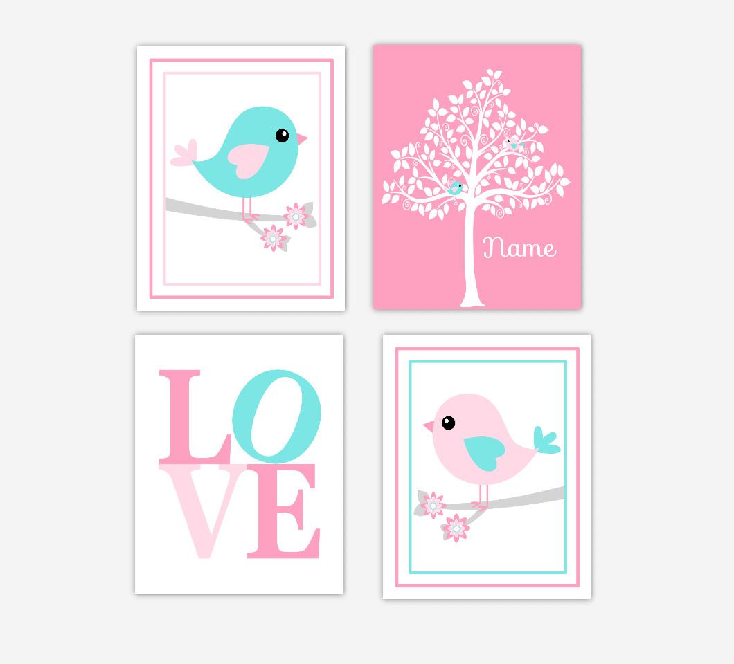 Baby Girl Nursery Art Pink Aqua Teal Birds Personalized Silhouette Tree LOVE Print Baby Nursery Decor SET OF 4 UNFRAMED PRINTSE