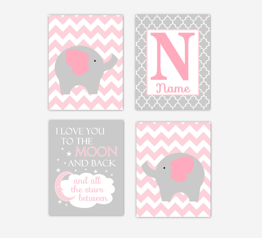 Baby Girl Nursery Art Pink Gray Elephant Personalized Jungle Safari Zoo Animals I Love You To The Moon Baby Nursery Decor SET OF 4 UNFRAMED PRINTS