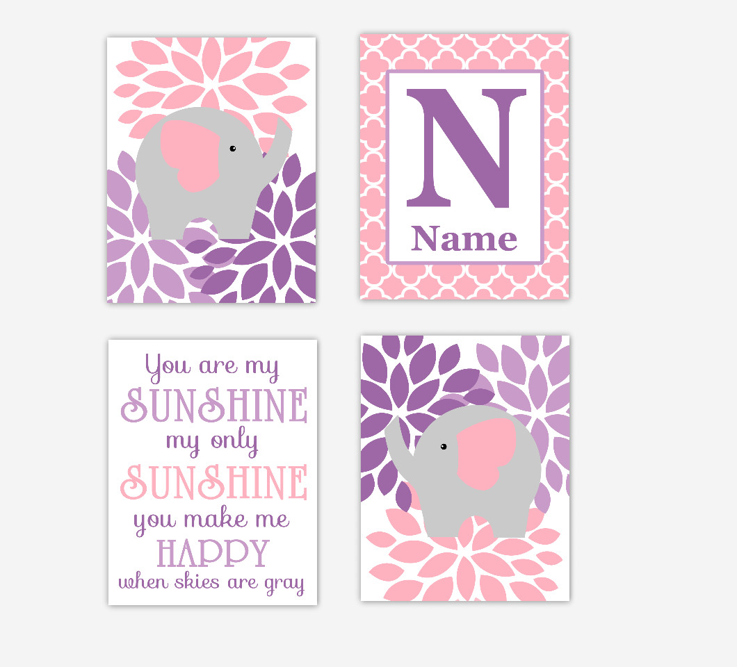 Pink Baby Girl Nursery Wall Art Flower Burst Dahlia Mums Elephants Personalized Name You Are My Sunshine Baby Nursery Decor SET OF 4 UNFRAMED PRINTS
