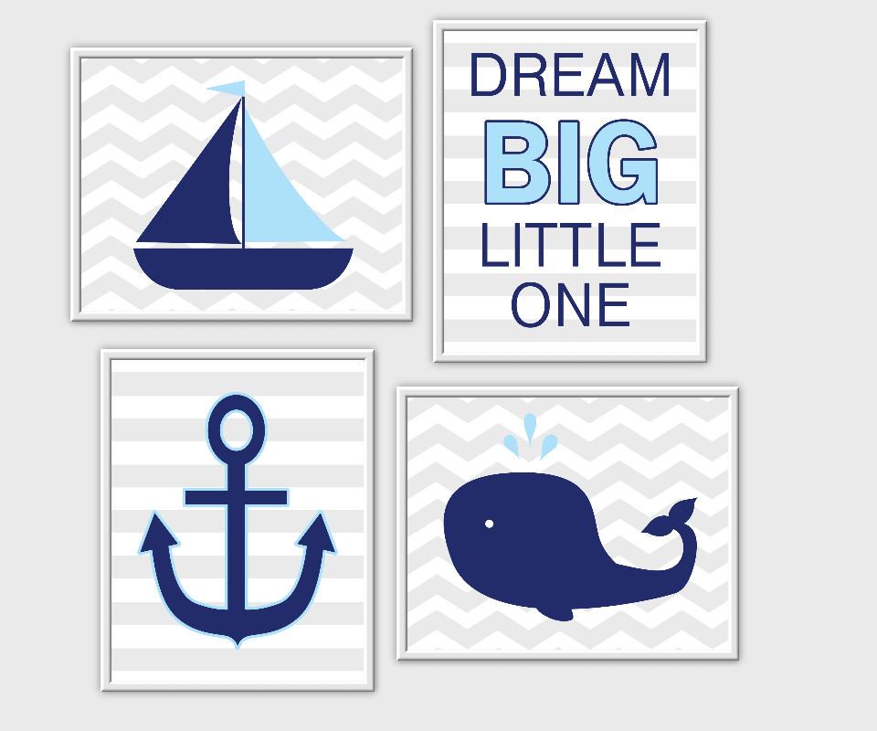 Nautical Baby Boy Nursery Wall Art Sailboat Anchor Whale Dream Big Little One Quotes for Baby Boy Decor Blue Blue Gray Decor for Boys Room Prints Kids Bath Art SET OF 3 UNFRAMED PRINTS