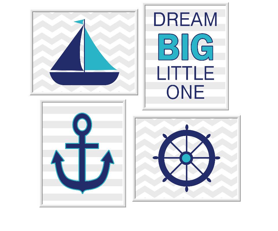 Nautical Baby Boy Nursery Wall Art Sailboat Anchor Wheel Dream Big Little One Quotes for Baby Boy Decor Blue Teal Gray Decor for Boys Room Prints Kids Bath Art