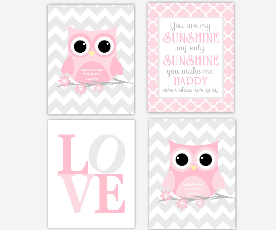 Pink Gray Grey Baby Nursery Art Decor Owl You Are My Sunshine LOVE Print Chevron Quatrefoil Girl Art