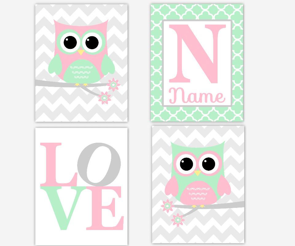 Baby Girl Nursery Art Owls Pink Gray Mint LOVE Personalize Monogram Name Chevron Quatrefoil Owl Baby Nursery Prints