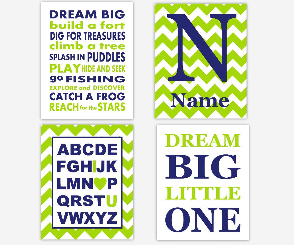 Navy Blue Lime Green Boy Nursery Wall Art Dream Big ABC Personalized Art Boy Room Wall Decor Baby Nursery Decor Nursery Wall Decor Playroom SET OF 4 UNFRAMED PRINTS