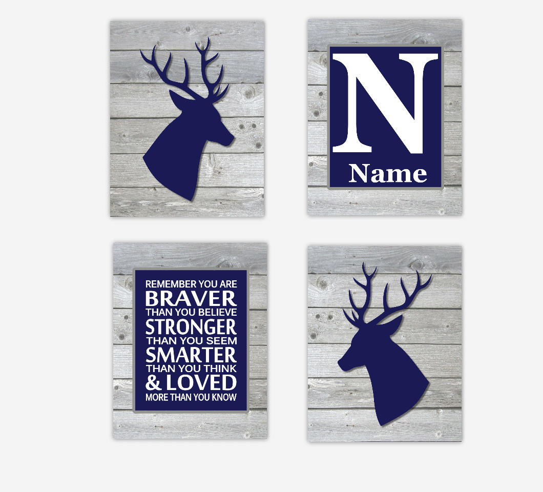 Baby Boy Nursery Art Deer Antlers Navy Blue Gray Personalized Remember You are Braver Woodland Baby Nursery Decor