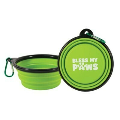 Collapsible Pet Bowl with Carabiner - Green