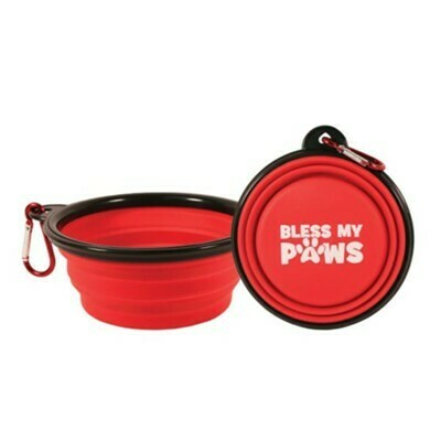 Collapsible Pet Bowl with Carabiner, Red
