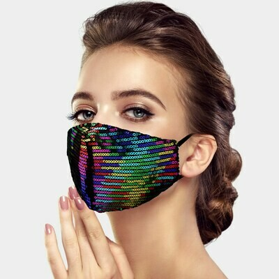 SEQUIN FASHION MASK - Rainbow Multi