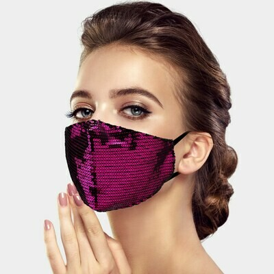 SEQUIN FASHION MASK - Fuschia