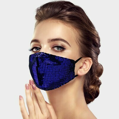 SEQUIN FASHION MASK - Royal Blue
