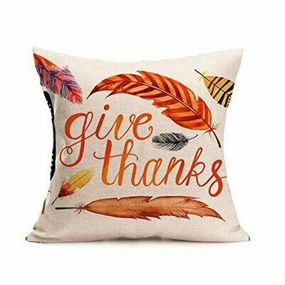 Thanksgiving Themed Pillow Cover - Give Thanks Feather