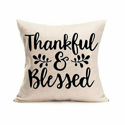 Thanksgiving Themed Pillow Cover - Thankful