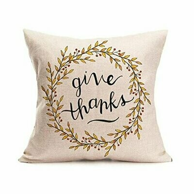 Thanksgiving Themed Pillow Cover - Give Thanks