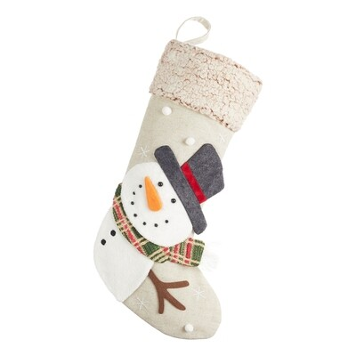 Snowman Linen Christmas Stocking