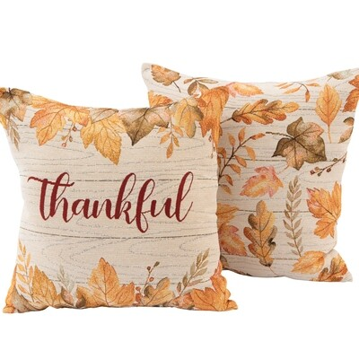 Thankful Fall Leaves Decorative Throw Pillow