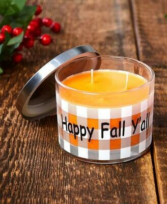 Make Mine Country Plaid Candle - Happy Fall Y'All