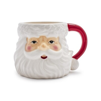 Santa Mug with cocoa mixes and peppermint stirrers