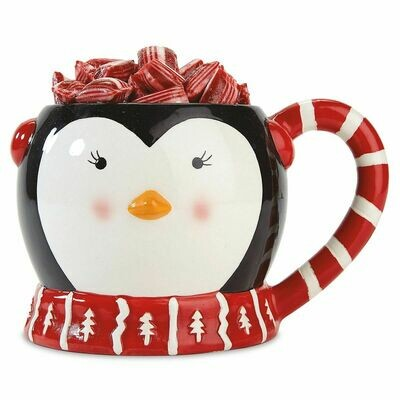 Penguin Mug with cocoa mixes and peppermint stirrers