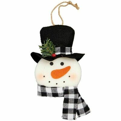 Rustic Snowman Head Christmas Ornament
