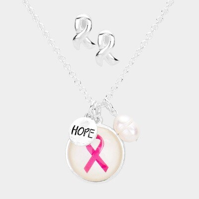 PINK RIBBON PEARL HOPE PENDANT NECKLACE