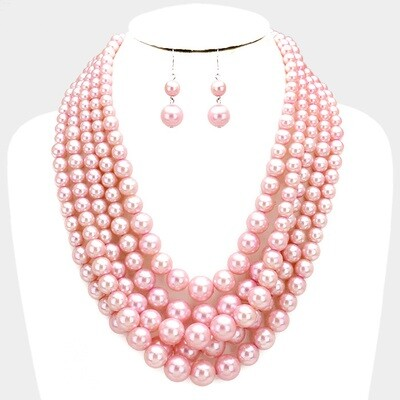5 ROW STRAND PEARL NECKLACE & EARRING SET
