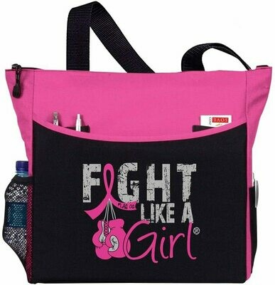 Fight Like a Girl Breast Cancer Tote Bag w/Boxing Gloves