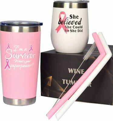 Breast Cancer Awareness 2 Piece Set- You get the Tumbler and Wine Tumbler