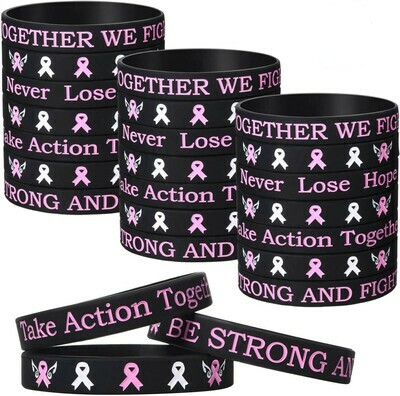 Silicone Breast Cancer Awareness Bracelet - BE STRONG AND FIGHT ON