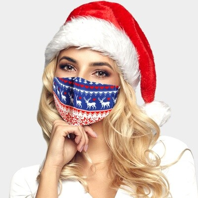 CHRISTMAS THEME ANIMAL PRINT FASHION MASK - Blue
