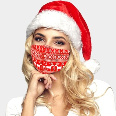 CHRISTMAS THEME RUDOLPH PRINT FASHION MASK - Red