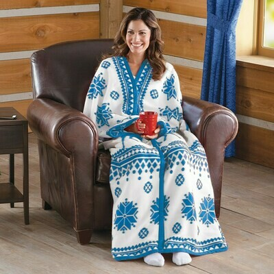Nordic Snowflake Cuddle Fleece Wrap-BLUE