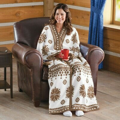 Nordic Snowflake Cuddle Fleece Wrap-Brown