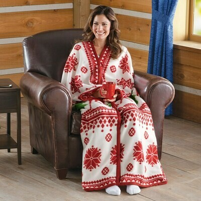 Nordic Snowflake Cuddle Fleece Wrap-RED
