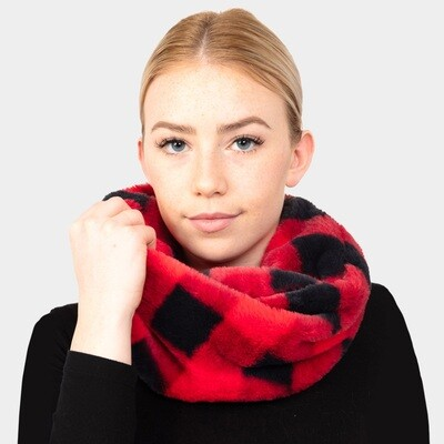 BUFFALO PLAID CHECK TWIST INFINITY SCARF - Red
