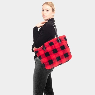 BUFFALO PLAID CHECK ZIPPER TOTE BAG