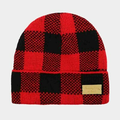 BUFFALO CHECK RIB BEANIE HAT- Red