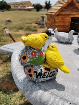 Two Welcoming Yellow Canaries Statue